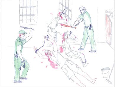 Torture in Cuban prisons drawing by Angel Gracia Rivero